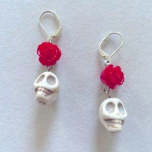 Dis de Los Muertos Earrings, Handmade & NWT